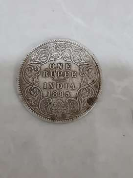 Old British Rule Coin of 1885 with Queen Victoria's Stamp