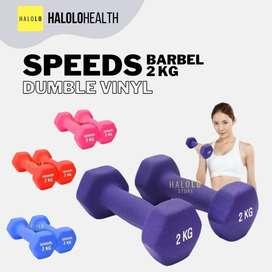 Barbel Dumble 2 kg Dumbell Vinyl SPEEDS Kualitas Import