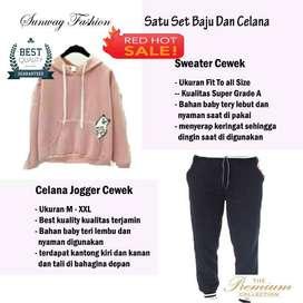 AM00561 Celana Setelan Satu set Sweater cewek dan celana joger