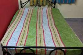 Queen size iron cot with cotton mattress