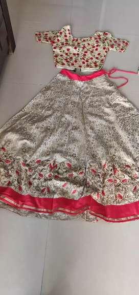 Silk embroidery Lahanga and crop top