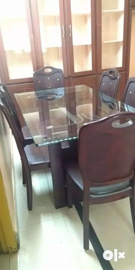 Glass Dining Table with 6 Chairs 0