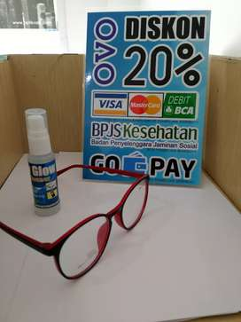 Frame Kacamata Bulat Warna Hitam Kombinasi Warna Merah