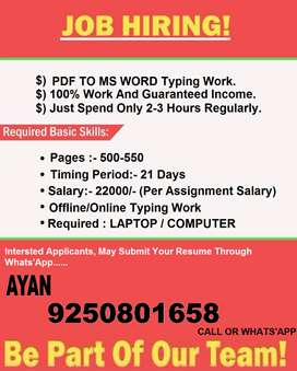 Offer your for better future!!Work from HOME get monthly up to 22000/-