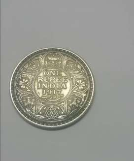 ONE RUPEE INDIA 1917 GEORGE V KING EMPEROR