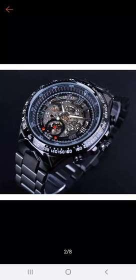 Jam tangan pria otomatis dgn bingkai warna black