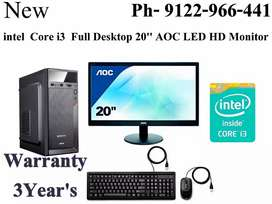 "Full New Core i3 Desktop With 20"" AOC LED HD Monitor Warranty 3year"