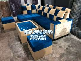Cream and blue sectional l shape sofa
