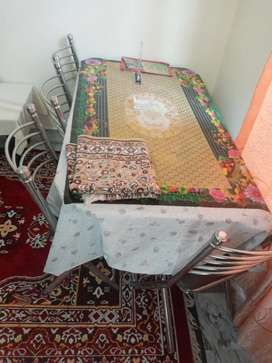 Glass  Dining table with 6 Chairs For Sale in Wah Cantt