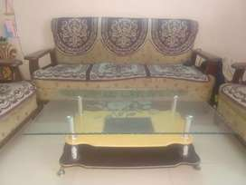 Wooden sofa (5 seater) and center table