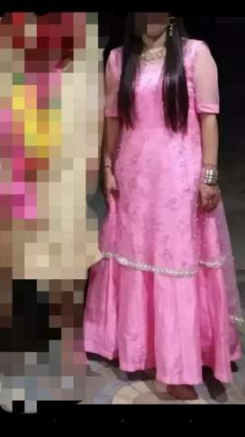 Long gown in baby pink color