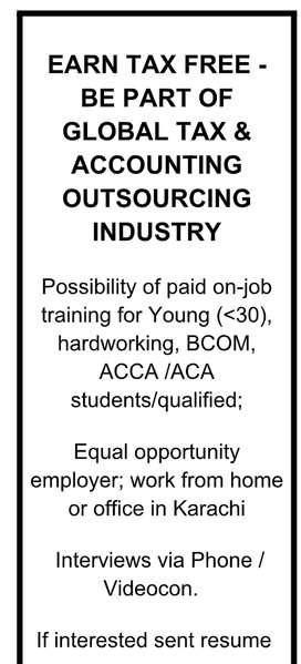 EARN TAX FREE-BE PART OF GLOBAL TAX & ACCOUNTING OUTSOURCING INDUSTRY