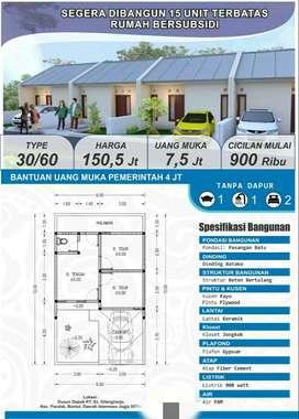 Rumah subsidi siap bangun hanya 15 unit DP 7,5jt angsuran 900an ribu