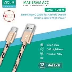 [GARANSI 12 BULAN] Kabel Cas Data ZOLA USB C 2,4A FAST CHARGING 1m
