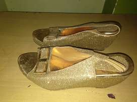 Brand new gold glitter wedges or heels
