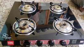 Cello Gas Stove 4 Burner Glass Top ISI Certified