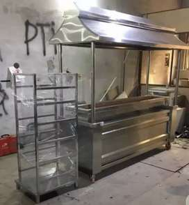 Stainless steel BBQ counter with seekh stand