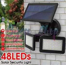 Lampu Solar 48 LED Dual Head + Solar Motion Sensor