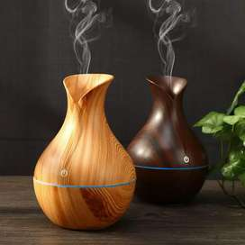 USB 7 LED Wood Grain Aromatherapy Quiet Air Humidifier- 130ml