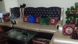 5 Seater Sofa with Glass Table