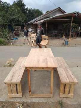 Meja kursi cafe warkop kayu