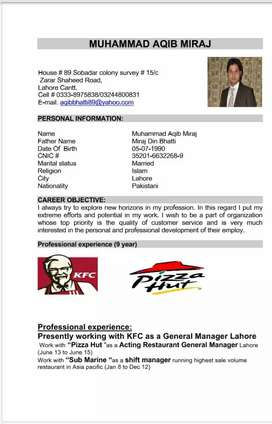 Need  job as a  Restaurant Gernal Manager Position
