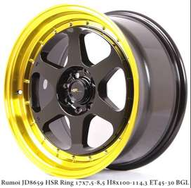 JUAL VELG RACING;HSR R17X75/85 H8X100-114,3 ET45/30 BK/GOLDL