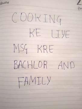 Bachlors and family's ke liye cook chahiye to contact kre
