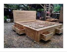 tempat tidur dipan kayu jati  kf-739