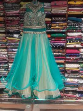 Green heavy party gown