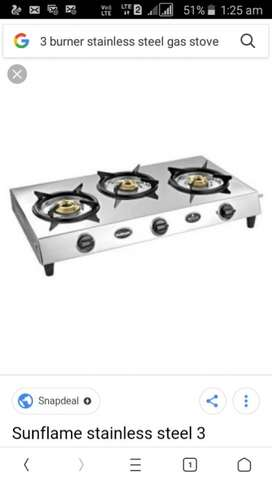 Well maintained 3 burner stainless steel gas stove