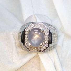 Natural 4.25 CT Ceylon Srilangka Star Blue Sapphire Silver 925
