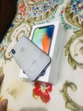 I phone x 64 GB silver Brand new condition Fully Lamination.