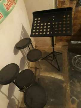 practice drums and notation stand