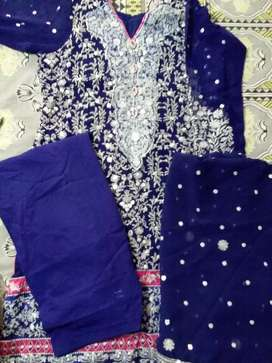 1 time used Chifon full emb suit