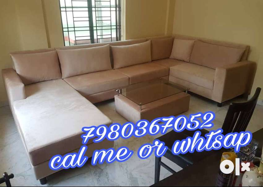 brand new U shape 7 seater sofa set in cream color at very best price 0
