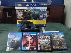 Playstation 4 Slim - 1 TB + 2 controllers + 4 games