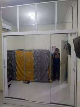 Lemari pakaian custom minimalis pintu 3 sleding Jumbo Full kaca cermin