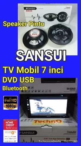 Paket full SANSUI Tv mobil doubledin tape + speaker pintu paket sound