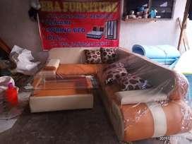 Erafurniture*sofa L new VALENTINO nugget-cream+bantal+MEJA