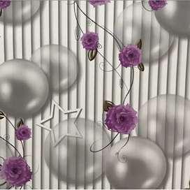 Wallpaper Garis Bulat Bunga Ungu 45cm x 10m