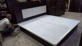 hydralic double bed mica pasting solid plywood