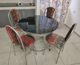 Stainless steel dining table chairs available