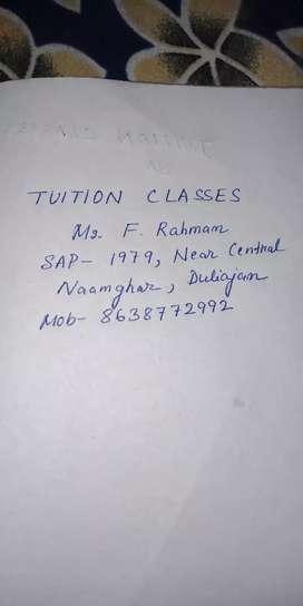 TUITION classes..Ms.F.Rahman(TET qualified,B.Sc,BEd,Deled)