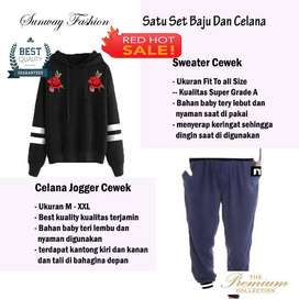 AM00634 Celana Setelan Satu set Sweater cewek dan celana joger