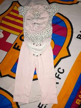 Baju 1 stel celana panjang,baju +celemek warna pink