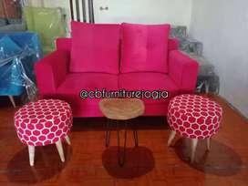 sofa double sandaran dengan 2 Stool tanpa meja