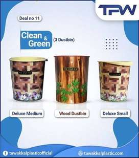 3 Dustbins Pack Clean & Green easily use for store waste & other items