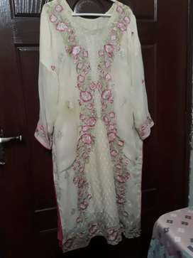 Fancy full embroidered dress 3 pc. Party wear. Women clothes