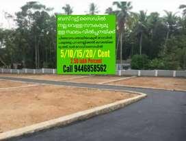 House plot 5/10/15/20 /2.50 lakh Percent Chingavanm Najliakuzhy Rode
